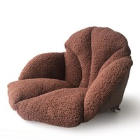 New Creative Plush Oblong Seat Cushion Lumbar Back Support Cushion Pillow for Office Home Car Seat Chair Coffee Color