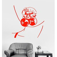 Vinyl Wall Decal Cherry Lady Sexy Hot Lips Girl Face Woman Stickers (2126ig)