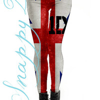 1D Flag Leggings Custom Printed.  Custom printed One direction grunge high quality leggings.  Love One Direction