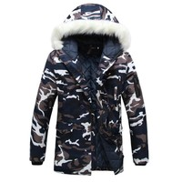 Trendy Camouflage Down Parkas Jackets  2018 Men's Parka Hooded Coat Male Fur Collar Parkas Winter Jacket Men Military Down Overcoat AT_94_13