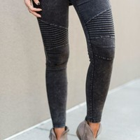City Slicker Moto Jeggings - Washed Black