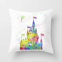Castle of Magic Kingdom  Throw Pillow by Miss L In Art