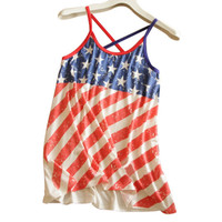 Sinful Theme USA American Flag Stars Stripe Women Camisole Tank T-Shirt Tops A01