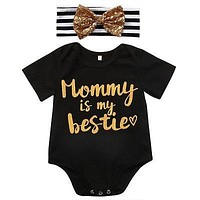 2pcs Baby Girls clothes set Cute Newborn Infant Baby Girl Mommy is my bestie Romper Headband Outfits Clothes