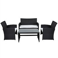 Black Resin Wicker 4-Piece Outdoor Patio Furniture Set with White Seat Cushions