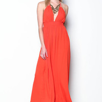 CORAL TEACUP TIED GAUZE MAXI DRESS