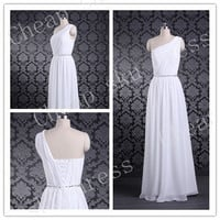 Chiffon A-line One-shoulder Ruffle Beads Cheap Lace-up Long Bridesmaid Dress Party Dress Evening Dress Prom Dress Formal Dress 2014