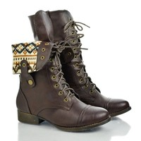 Sharpery1 Round Toe Lace Up Two Way Foldable Collar Combat Military Boot
