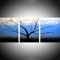 "ARTFINDER: Tree on Ice Blue Sky triptych 3 panel wall art impasto texture 3 panel canvas wall abstract canvas pop abstraction 48 x 20 "" by Stuart Wright - 3 piece canvas art