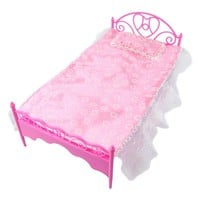 LeadingStar Pink Mini Dollhouse Bedroom Furniture Bed With Pillow for Dolls Great Children Gift