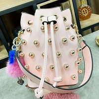 Fendi New Fashion High Quality More Pearl Bucket Bag Leather Shoulder Bag Pendant Accessories Women Pink