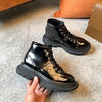 Alexander McQueen  Trending Women's Black Leather Side Zip Lace-up Ankle Boots Shoes High Boots