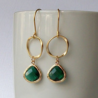 Emerald  Green  Crystal Gold Dangle Earrings, Faux Emerald Birthstone Earrings