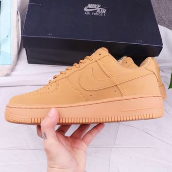 NIKE Air Force 1 High Quality New Fashion Sports Leisure Running Women Men Shoes Brown