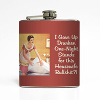 Liquor Flask Drunk Housewife Liquid Courage Ephemera Adult Women Mom Birthday Newlywed Gift Stainless Steel 6 oz Liquor Hip Flask LC-1455