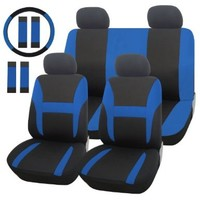 Adeco [CV0155] 13-Pieces Car Seat Covers - Whole Set (Including Steering Wheel Cover and Safty Belt Covers) - Universal Fit, Black and Blue Color