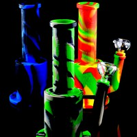 Colorful Medium 2 Part Silicone Water Pipe with Honeycomb Perc - WP1404