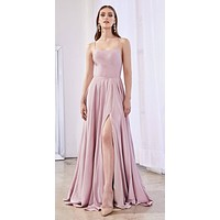Floor Length Long Satin A-Line Gown Dusty Rose Front Leg Slit
