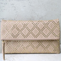Crowd Pleaser Taupe Studded Clutch