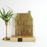 Vintage Brass House Trivet - Victorian Style Mansion - Home Decor Wall Plaque