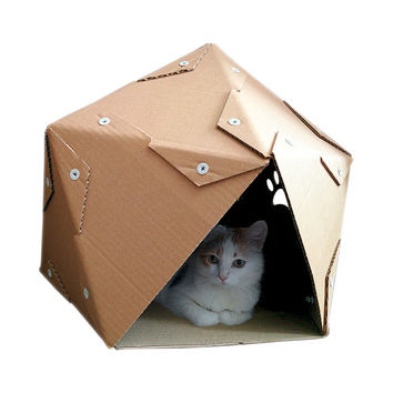 Pentagon Cardboard Cat House, Cat Furniture, Cat Toy, Cat Bed, Cat Cave, Pet House, Cardboard Furniture