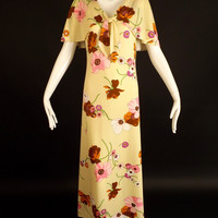 1970s Yellow Floral Knit Dress, Bust-36