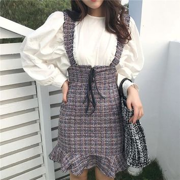 2018 New Women Fashion Skirts High Waist Nylon Plaid Skirts Harajuku Kawaii Cute Sweet  Vintage Ruffle Suspender Skirts #9136