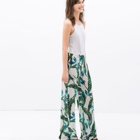 FLOWY WIDE TROUSERS WITH LEAF PRINT