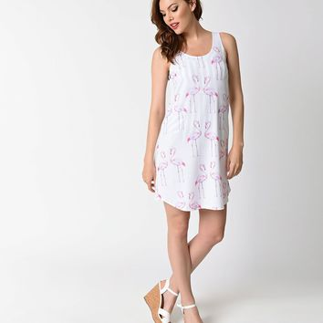 White & Pink Watercolor Flamingo Print Coverup Tunic Dress
