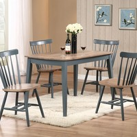 5 pc Margret collection 2 tone brown oak and blue finish wood dining table set