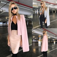 Winter Women's Casual Cape Cardigan Blazer Long Cloak Jacket