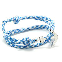 The Silver Anchor Bracelet in Aqua & White