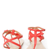 Restricted Jukebox Red Coral Strappy Thong Sandals
