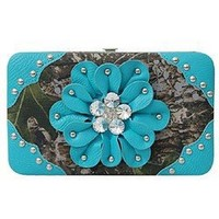 Camo 3d Rhinestone Flower Studded Camouflage Flat Wallet Clutch Purse Turquoise Blue (Turquoise)
