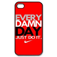 New Hot NIKE T SHIRT EVERY DAMN DAY JUST DO IT Red New Apple IPHONE 4 4S 5 HARD CASE Covers Elegant