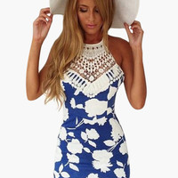 Blue Floral Print Straapy Back with Crochet Lace Patchwork Bodycon Mini Dress