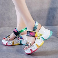Summer new style rhinestone transparent sandals increase in women's shoes