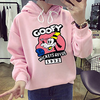 Goofy Mickey's Revue 1932 Pink Autumn Korean Kawaii Cartoon Lovely Hoodie Fleece Loose Womens Harajuku Goofy Pattern Pullovers
