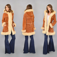RARE • 70's Sheepskin + Suede  Hooded Coat