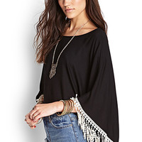 FOREVER 21 Crochet-Trimmed Cropped Poncho Black/Cream