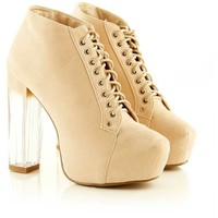 Lu Beige Perspex Suede Lace Up Shoe Boots