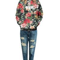 Floral Print Hooded Sweater 13252