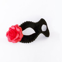 Coral Pink And Black Masquerade Mask - Velvet Covered Venetian Mask With Pink Rose Decoration