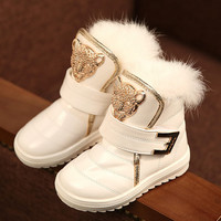 2017 New Children Boots Fashion Fur Baby Girls Snow Boots Waterproof leather Booties Female Child Winter Warm Shoes Kids Boots