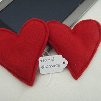2 piece Red Fleece Hand Warmers RED or PINK HEARTS