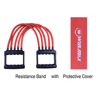 Winmax Home Gym Fitness Equipment 5 Removable Latex Tube Multi-function Chest  Expander Hand Gripper Exercise Resistance Bands