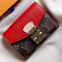 LV New fashion monogram print leather wallet purse handbag Red