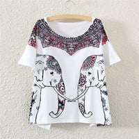 Women Batwing Short Sleeve Eleghant Graphic Print T Shirt Tee Tops (Color: White) = 1946743748