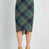 Vintage Inspired, Scholastic Long Pencil Scholar ID Skirt in Green