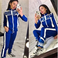PUMA New Popular Women Casual Round Collar Top Pants Set Two-Piece blue